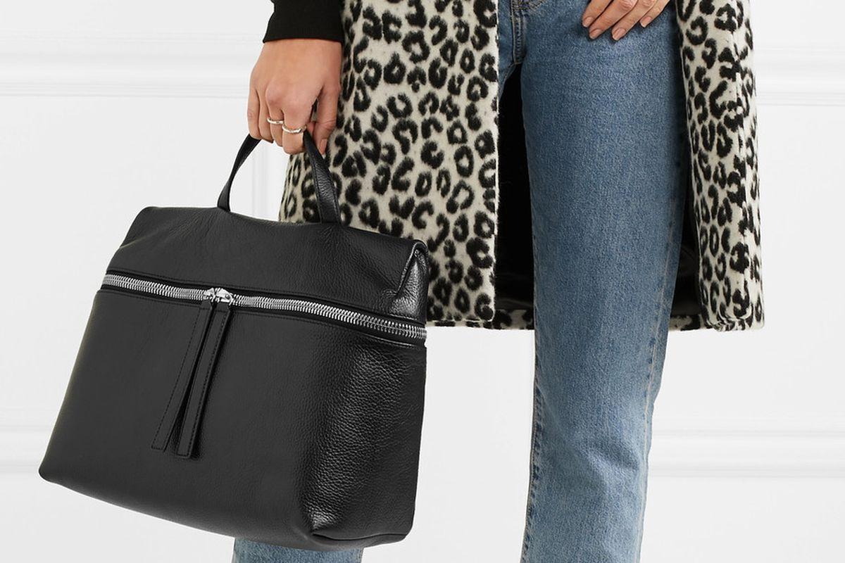 Black leather satchel bag