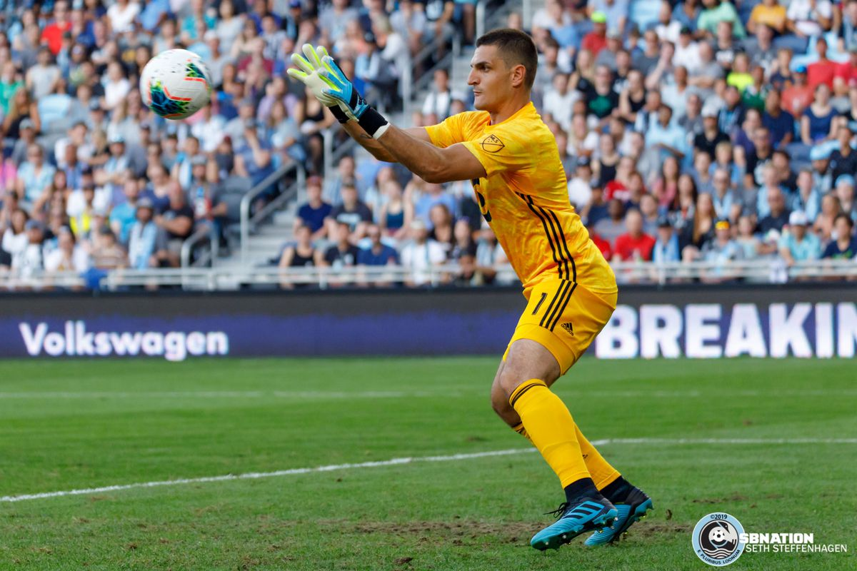 August 7, 2019 - Saint Paul, Minnesota, United States - Minnesota United goalkeeper Vito Mannone (1) catches the ball during the US Open Cup semifinal match against the Portland Timbers at Allianz Field.