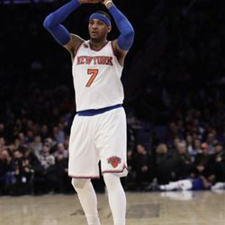 New York Knicks' Carmelo Anthony (7) plays during the second half of an NBA basketball game against the Indiana Pacers Tuesday, March 14, 2017, in New York. The Knicks won 87-81(AP Photo/Frank Franklin II)