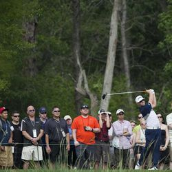 Hunter Mahan tees off from the eleventh hole during the third round of the Houston Open golf tournament on Saturday, March 31, 2012, in Humble, Texas.
