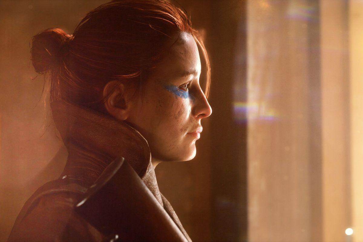 Key art of a female soldier in Battlefield 5