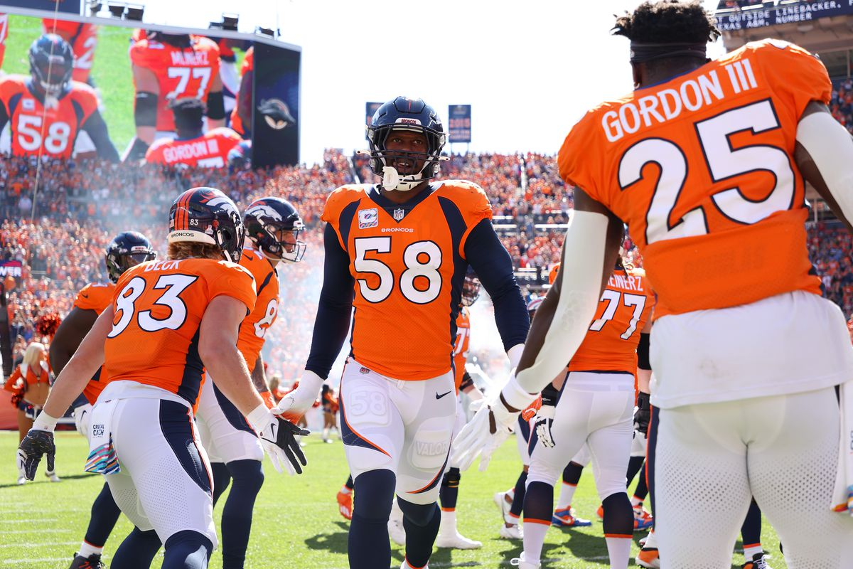Von Miller #58 of the Denver Broncos takes the field against the Baltimore Ravens at Empower Field At Mile High on October 3, 2021 in Denver, Colorado.