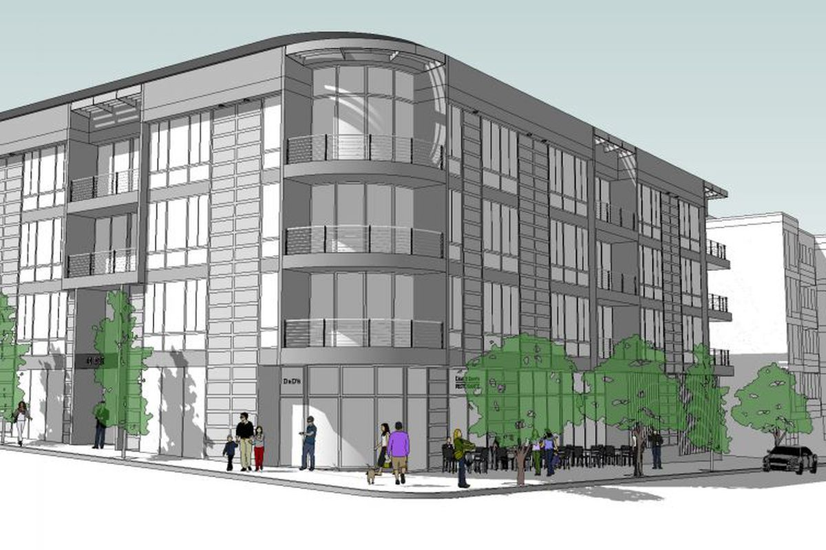 A 2013 rendering of the proposed 11 Dorchester St. development, with Republic on the ground floor (The sidewalk patio is no longer included)