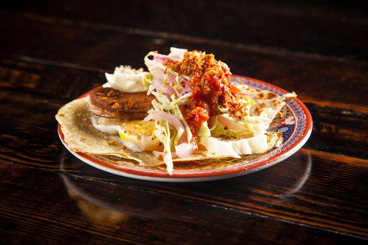 Kaisho's breakfast taco with spam.