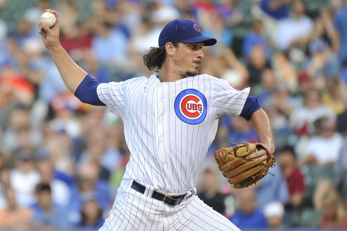 Starting pitcher Jeff Samardzija of the Chicago Cubs delivers during the first inning against the Miami Marlins at Wrigley Field in Chicago, Illinois.  (Photo by Brian Kersey/Getty Images)