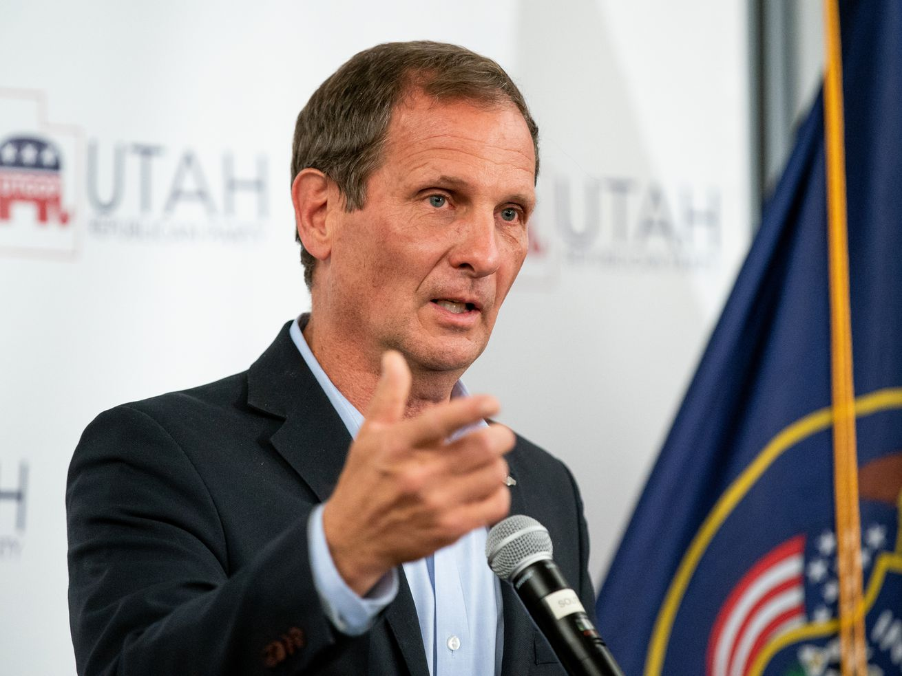 Rep. Chris Stewart, R-Utah, who is in a race to hold onto his 2nd Congressional District seat, speaks at an election night event for Republican candidates in at the Utah Association of Realtors building in Sandy on Tuesday, Nov. 3, 2020.