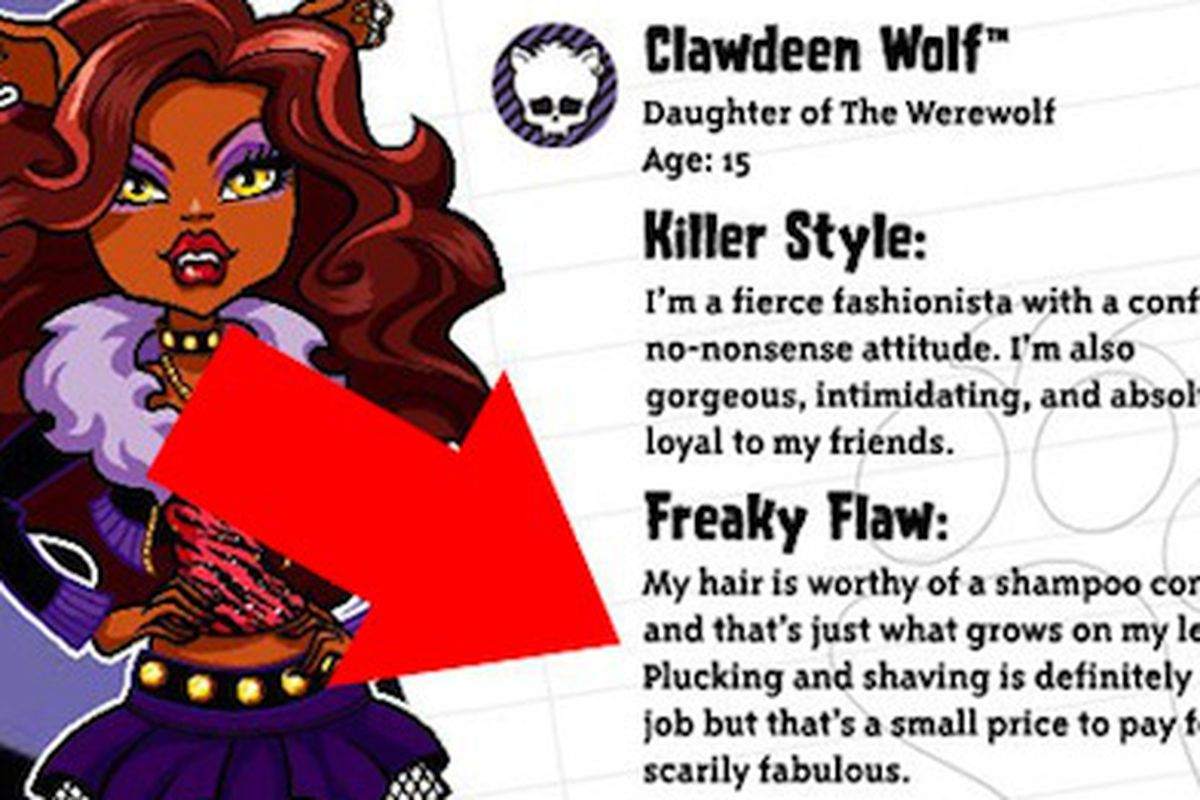 """This is what the death of childhood innocence looks like. Thanks a lot, Mattel. Image via <a href=""""http://www.huffingtonpost.com/2011/03/17/monster-high-clawdeen-wol_n_837057.html"""">Huffington Post</a>"""