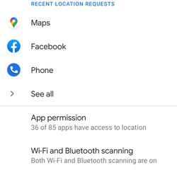 <em>The Location page lets you tweak your location settings.</em>
