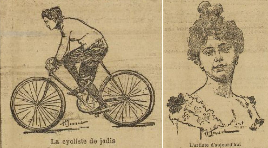 Hélène Dutrieu, as depicted in 'L'Auto' in 1903, in her racing days (on the left) and at the commencement of her acting career (right). Acting was just one part of her post-cycling career as an entertainer.