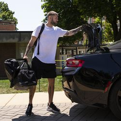 Chicago Bears' wide receiver Tanner Gentry #19 arrives for training camp at Olivet Nazarene University in Bourbonnais, Thursday afternoon, July 25, 2019.
