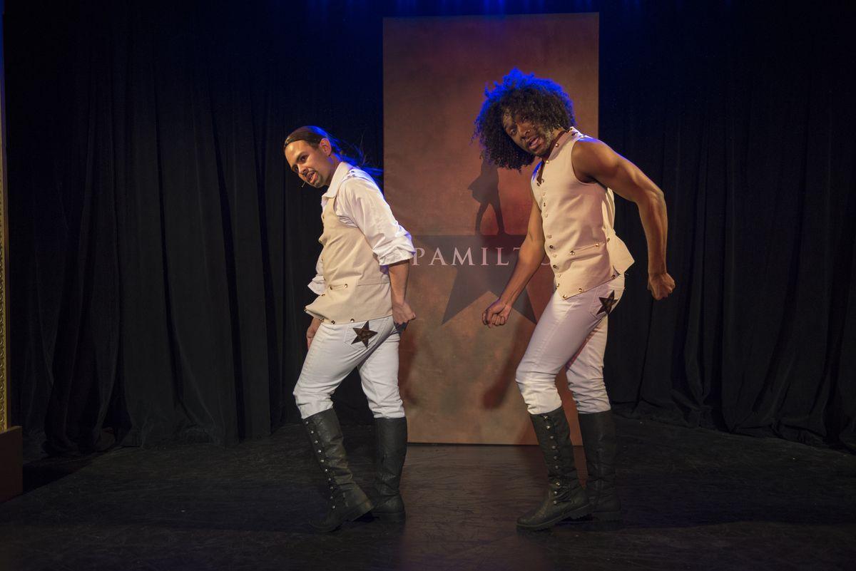 "Yando Lopez plays Lin-Manuel Miranda (as Hamilton) and Donterrio Johnson suggests Tony Award-winner David Diggs (as Lafayette and Jefferson) in ""Spamilton."" (Photo: Michael Brosilow)"