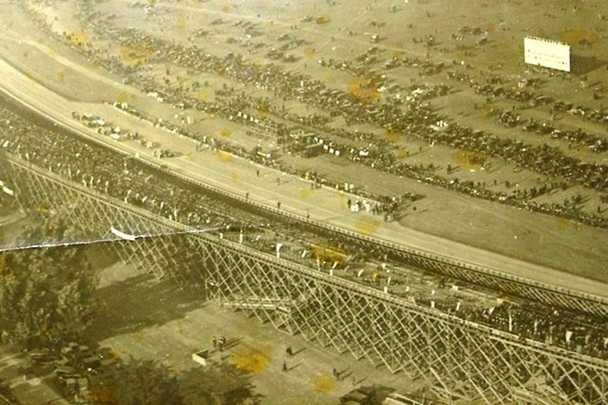 Sepia-toned aerial photograph of the San Francisco Speedway in 1921.
