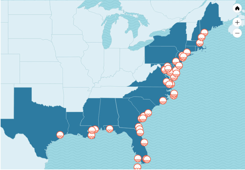 Screenshot Of An Interactive Map That Shows Us Locations And Military Installations Threatened By Climate Change Union Of Concerned Scientists