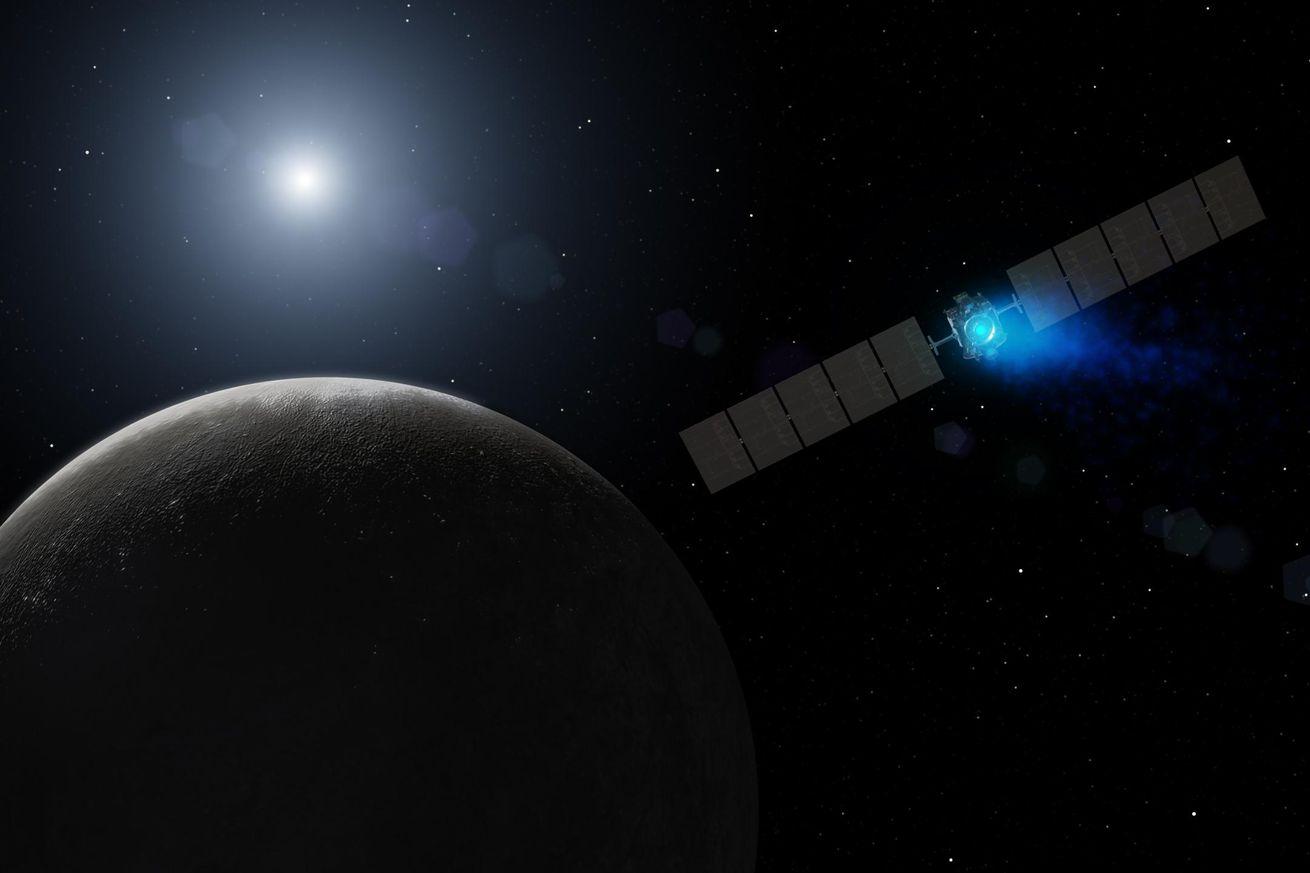 <em>An artistic rendering of Dawn at Ceres</em>
