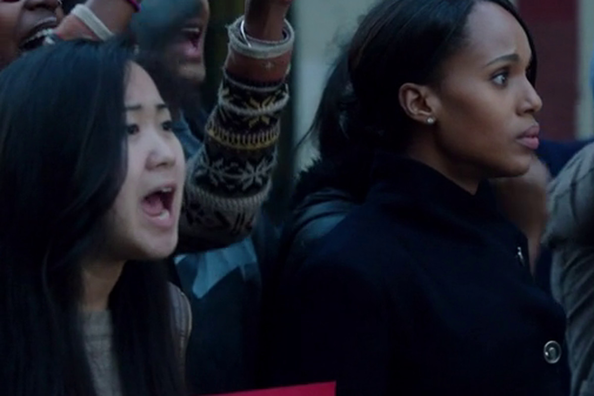 Olivia Pope (Kerry Washington) joins protests reminiscent of those in Ferguson in the latest episode of Scandal.