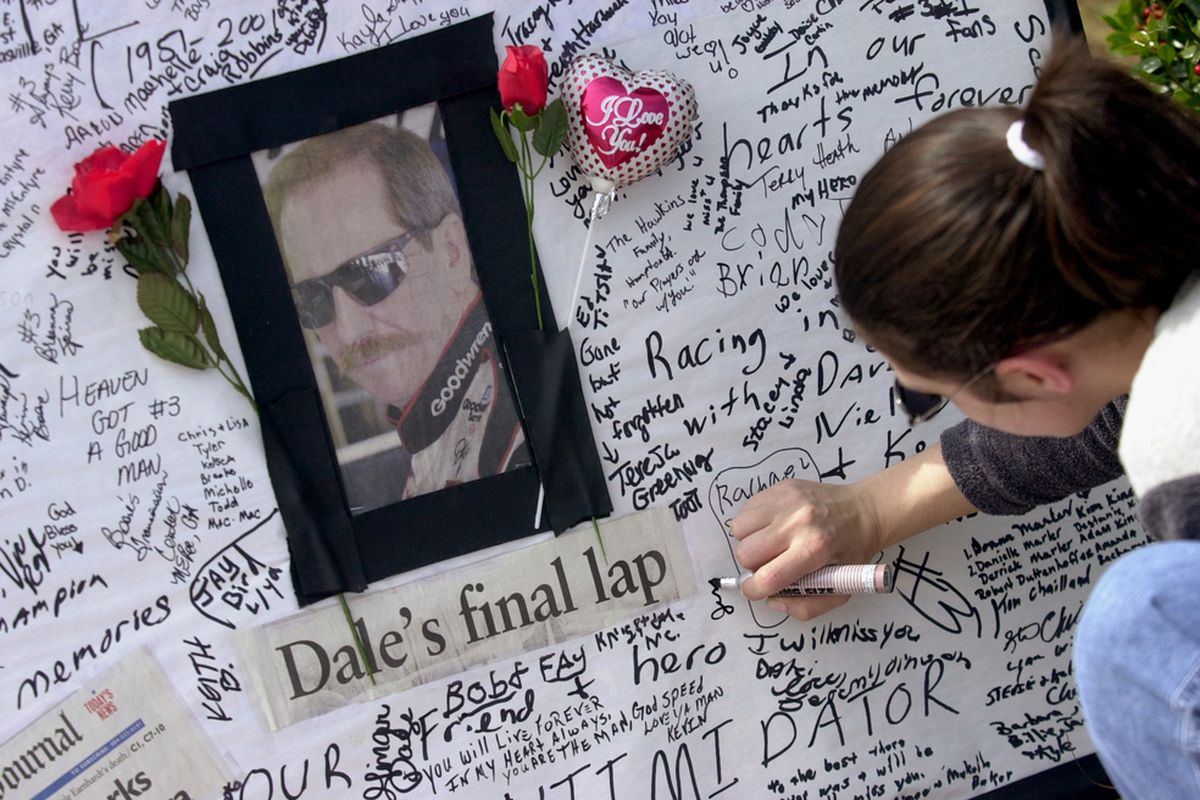 We're remembering Dale Earnhardt Sr. on the anniversary of his death today. Feel free to share your thoughts.