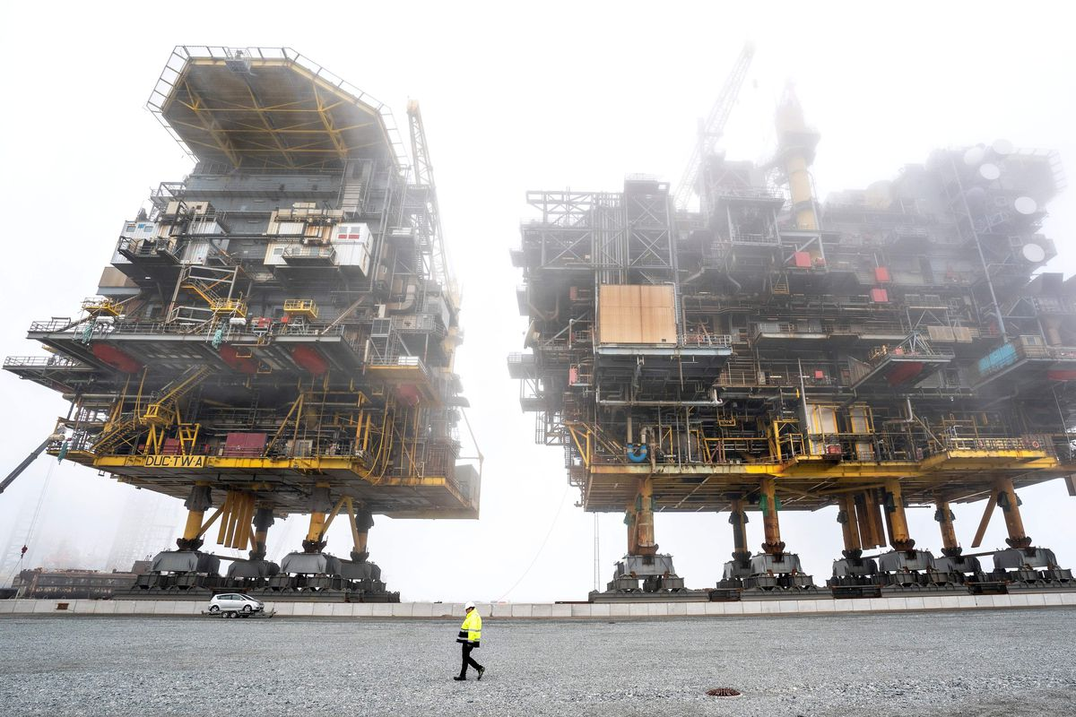 Two oil and gas processing platforms.