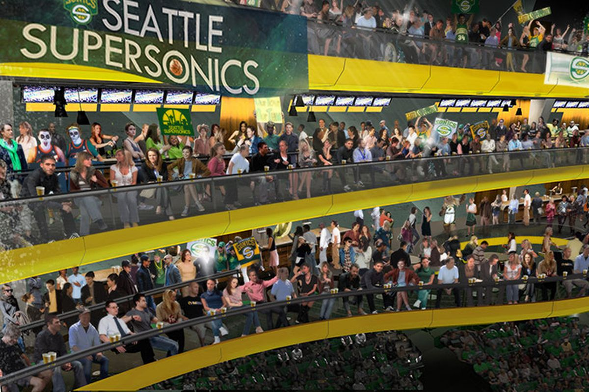 """SuperSonics arena detail, """"rings"""" of fans"""