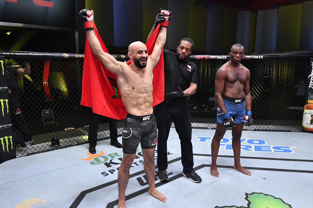 In this handout image provided by UFC, Ottman Azaitar of Germany celebrates after his victory over Khama Worthy in a lightweight fight during the UFC Fight Night event at UFC APEX on September 12, 2020 in Las Vegas, Nevada.