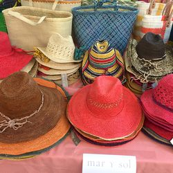 Mar Y Sol hats and clutches, $25
