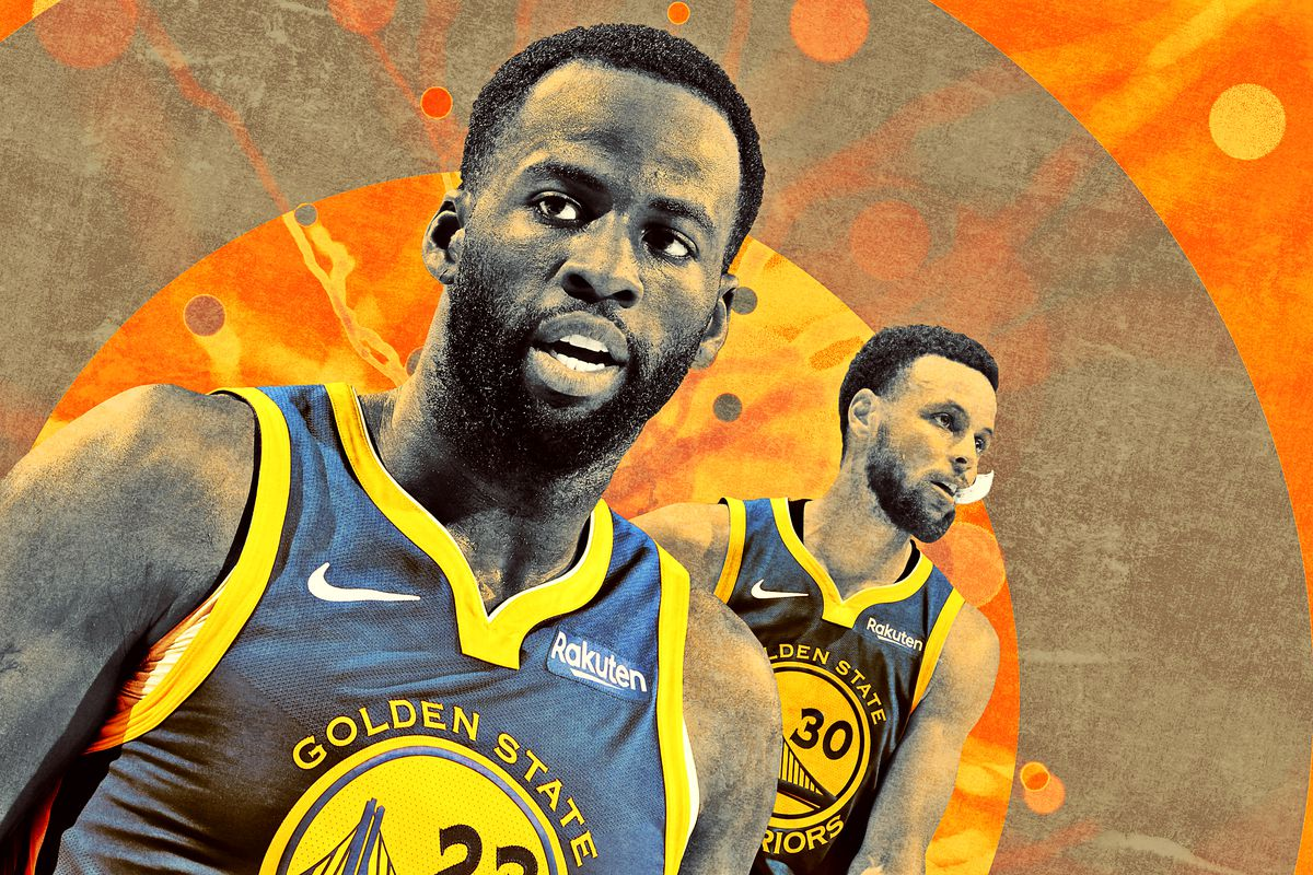 A photo illustration featuring Draymond Green and Stephen Curry of the Golden State Warriors