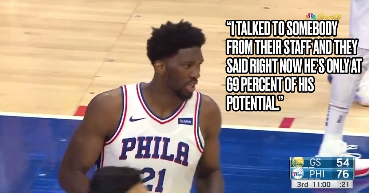 Warriors announcers completely believe Joel Embiid is at '69 percent'