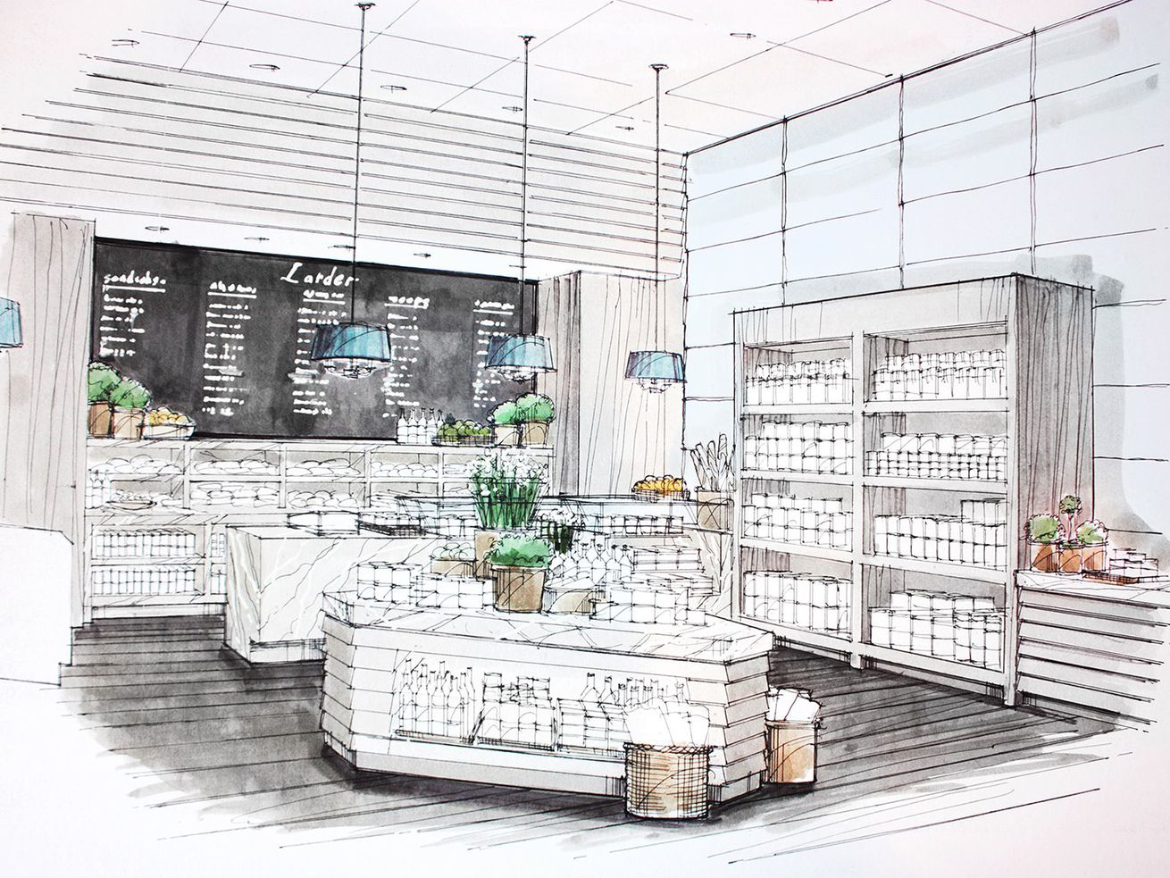 An original drawing for the Larder