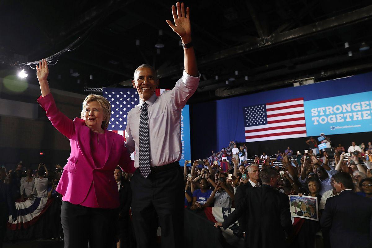 Hillary Clinton and Barack Obama in North Carolina on Tuesday.