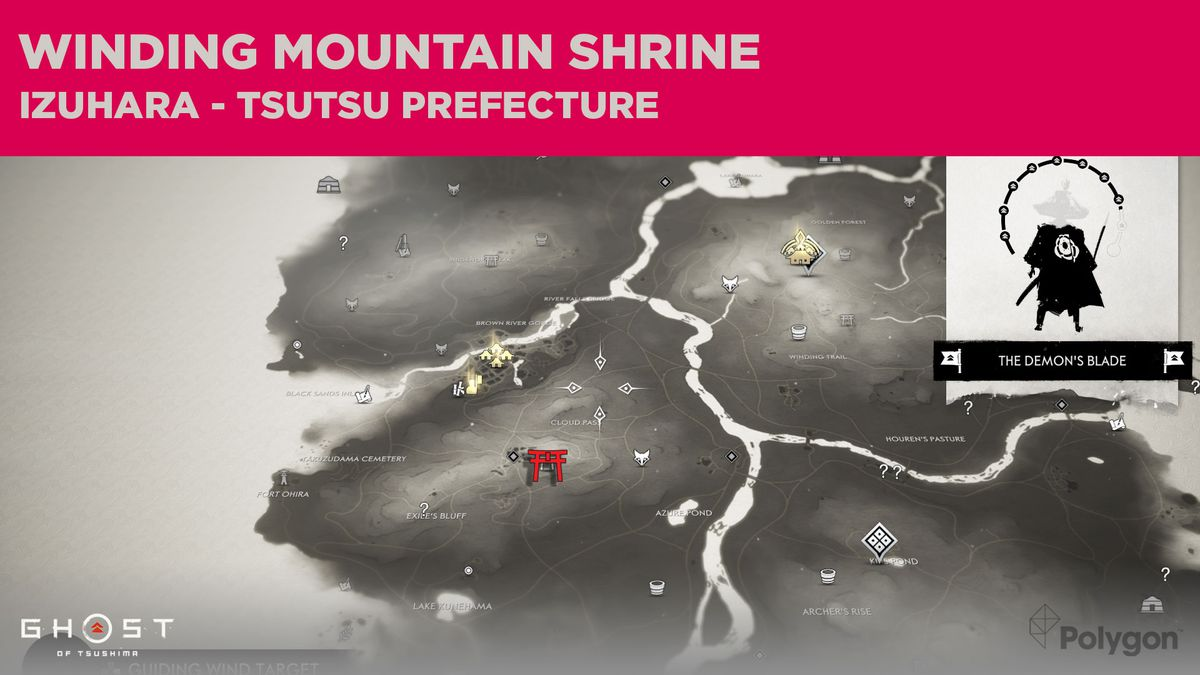 The location of Winding Mountain Shrine in Ghost of Tsushima