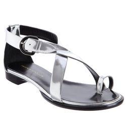 "<b>Proenza Schouler</b>, <a href=""http://www.barneys.com/Proenza-Schouler-Metallic-Criss-Cross-Flat-Sandal/502468301,default,pd.html?cgid=womens-shoes&index=0"">$750</a>"