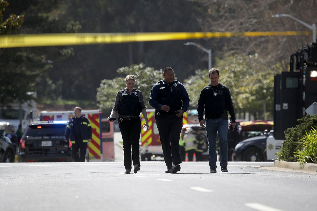 Police at the shooting at YouTube headquarters in San Bruno, California