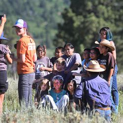 Interior Secretary Sally Jewell visits with Native Americans near the Bears Ears in southern Utah on Friday, July 15, 2016.