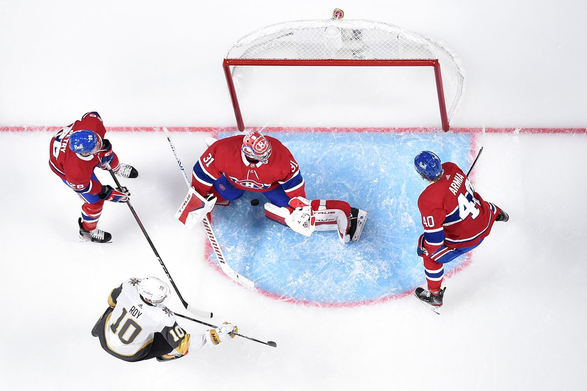 Nicolas Roy #10 of the Vegas Golden Knights scores a goal past Carey Price #31 of the Montreal Canadiens during the second period in Game Three of the Stanley Cup Semifinals of the 2021 Stanley Cup Playoffs at Bell Centre on June 18, 2021 in Montreal, Quebec.