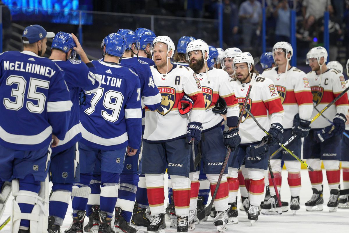Tampa Bay Lightning and Florida Panthers shake hands at the end of the series during the NHL Stanley Cup playoff match Game 6 on May 26, 2021 at Amalie Arena in Tampa, FL.