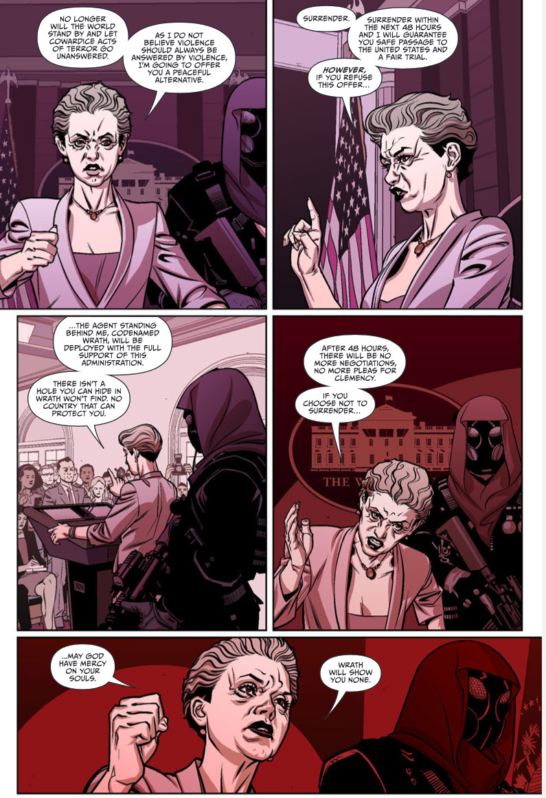 """While addressing the press, a female American official tells a terrorist group that they have 48 hours to surrender and face a fair trial or she will unleash the merciless masked agent known as """"Wraith"""" on them, in Thomas River, 12-Gauge Comics."""