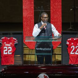 Christopher Jackson, Aaron Lowe's older brother, memorializes Aaron Lowe during a funeral service at Family Cathedral of Praise on Monday, Oct. 11, 2021, in Mesquite, Texas. Lowe, a student and football player at the University of Utah, was was shot and killed on Sept. 26 at a postgame party.