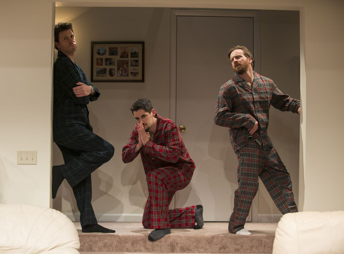 """Madison Dirks (from left), Ryan Hallahan and Beian Slaten in the Steppenwolf Theatre production of Young Jean Lee's play """"Straight White Men."""" (Photo: Michael Brosilow)"""