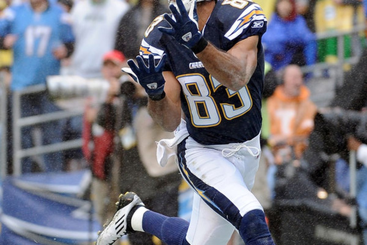 Vincent Jackson #83 of the San Diego Chargers makes a catch for a touchdown and a 7-0 lead over the Green Bay Packers.  (Photo by Harry How/Getty Images)