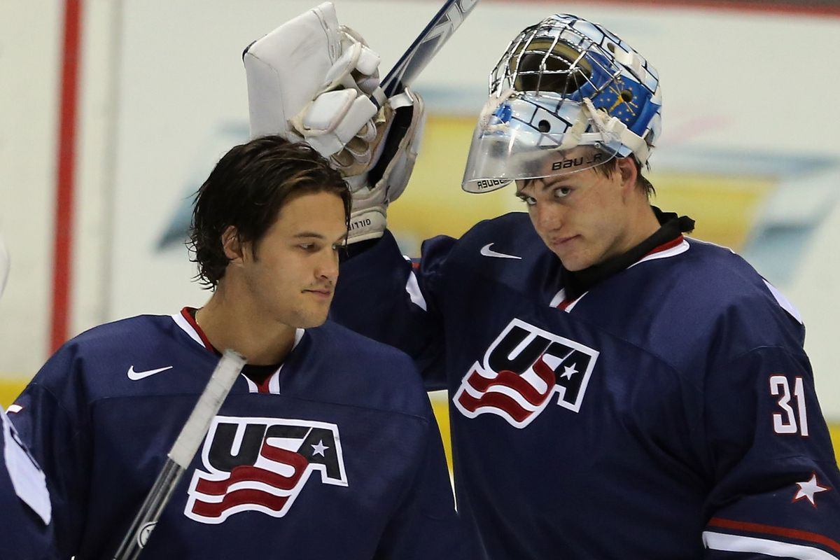 The past and future for the United States team for the World Junior Championships is seen here. John Gibson (left) led the US to Gold in 2013. Providence sophomore goaltender Jon Gillies is the favorite to man the pipes in 2014.