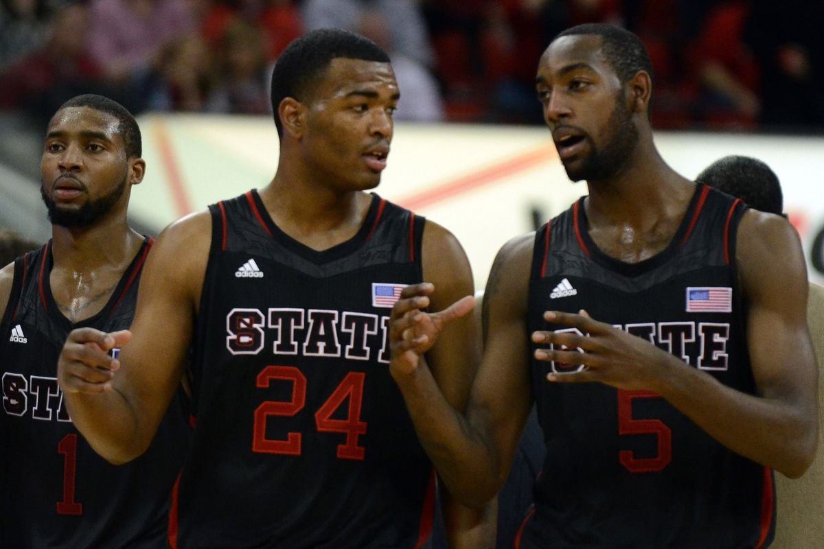 TJ Warren and CJ Leslie are probably discussing how weird it is to see NC State wearing black uniforms.