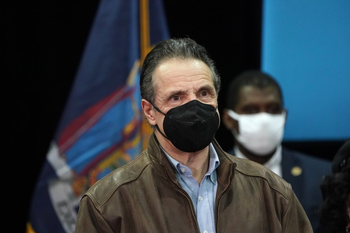 Governor Andrew Cuomo announces the opening of the mass vaccination site at Medgar Evers College in Brooklyn, Feb. 24, 2021.