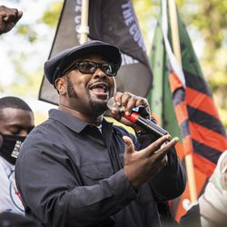 Fred Hampton Jr. speaks during a rally in Civic Center Park in downtown Kenosha, six days after Jacob Blake was shot in the back by a police officer in the Wisconsin city, Saturday, Aug. 29, 2020.