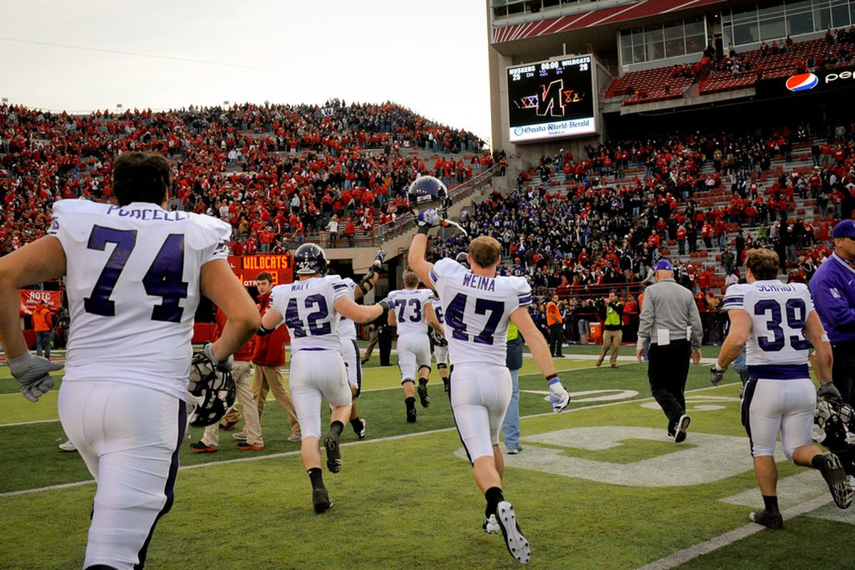 LINCOLN, NE - NOVEMBER 5: The Northwestern Wildcats leave the field after beating the Nebraska Cornhuskers at Memorial Stadium November 5, 2011 in Lincoln, Nebraska.  Northwestern beat Nebraska 28-25. (Photo by Eric Francis/Getty Images)