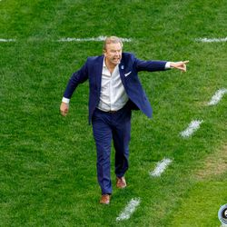 July 10, 2019 - Saint Paul, Minnesota, United States - Minnesota United head coach Adrian Heath shouts instructions during the quarter-final match of the US Open Cup against New Mexico United at Allianz Field.