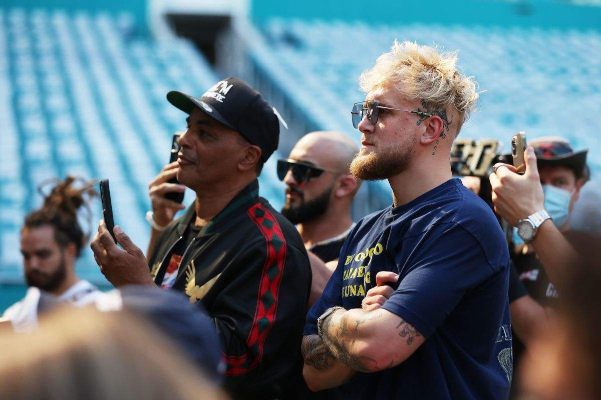Jake Paul looks on during a media availability for the June 6 fight between Floyd Mayweather and Logan Paul, Jake Paul's brother, at Hard Rock Stadium on May 06, 2021 in Miami Gardens, Florida.