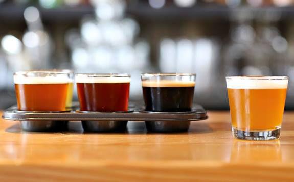 Beer flight at Sunset Reservoir