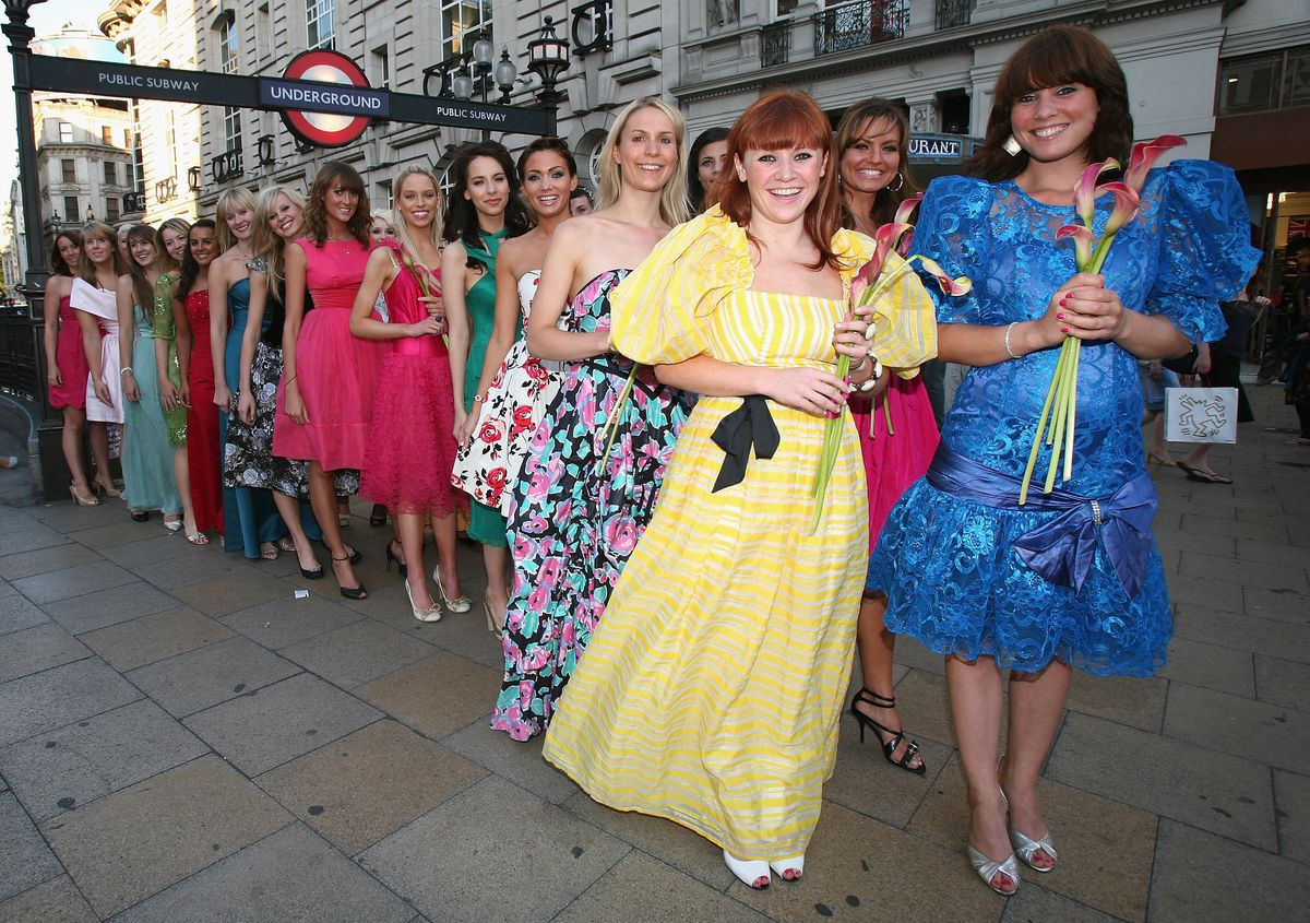 28f24ffaa75 Models in stereotypically bad bridesmaids dresses for a 27 Dresses event.  Photos  Jon Furniss Getty.