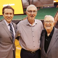 Current Utah Jazz head coach Quin Snyder is joined by former head coaches Jerry Sloan and Frank Layden following the formal announcement Monday, Oct. 26, 2015, of the name change from EnergySolutions Arena to Vivint Smart Home Arena in Salt Lake City.