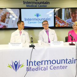 Dr. Lincoln Nadauld, executive director of Intermountain Precision Genomics, left, Dr. Brett Parkinson, a radiologist with the Breast Care Center at Intermountain Medical Center, and Linda Warner, a breast cancer survivor, discuss the launch of a cutting-edge genomics breast cancer study for Utah women during a press conference in Murray on Monday, Oct. 9, 2017. The study seeks to determine whether specific blood tests that look for DNA from cancer tumors can be used to complement screening mammography to improve the way breast cancer is diagnosed.