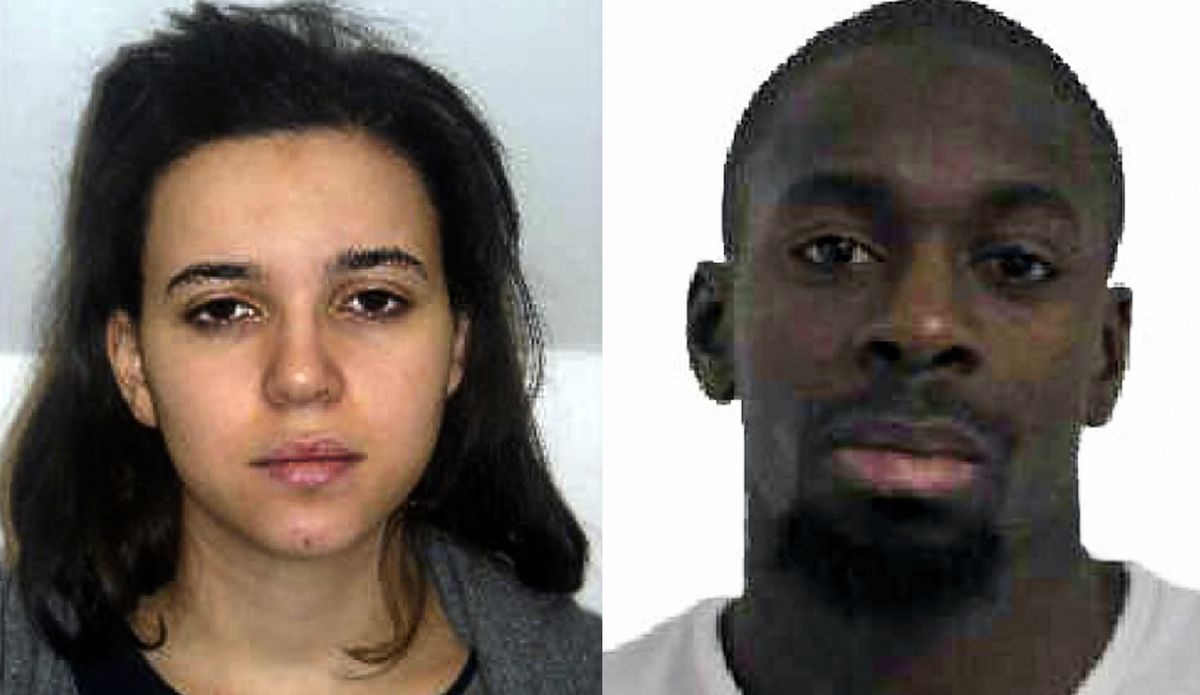 <small><strong>This combination of images released on Jan. 9, 2015, by the French police shows Hayat Boumeddiene (left) and Amedy Coulibaly (right), suspected of being involved in the killing of a policewoman in Montrouge on Jan. 8. Coulibaly is also susp